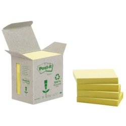 Memoblok 3M Post it 653 1B 38x51mm 6 stuks recycled geel